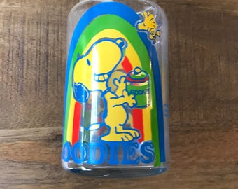 Peanuts Gang 1960's Snoopy and Woodstock Glass Goody Jar