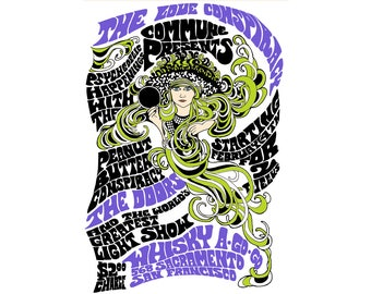 T-SHIRT: Psychedelic Concert Poster / The Doors - Classic T-Shirt & Ladies Fitted Tee - (LazyCarrot)