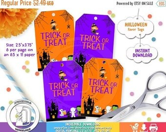 ON SALE Halloween Favor Tags, Halloween Party Decorations,  Trick or Treat, Costume, Favor Tags, INSTANT Download