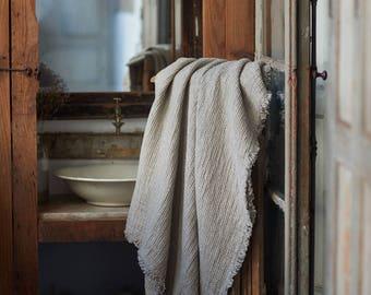 Natural WAFFLE LINEN BLANKET coverlet with fringes