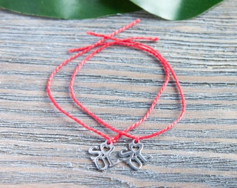 Couple Bracelets Red String Matching Bracelet Long Distance Relationship Red String of Fate Waterproof Kabbala Bracelet Silver Soul Monogram