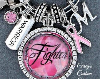 Breast Cancer Survivor Warrior Fighter Encouragement Gift, Key Chain, Support Gift For Mom Friend Daughter Grandmother, Pink Ribbon Hope