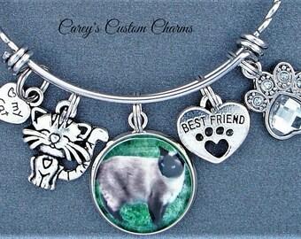Cat Lovers Love My Cat Best Friend Custom Photo Charm Stainless Steel Woven Bangle Bracelet, Gift For Cat Lover, Kitty, Kitten, Personalized