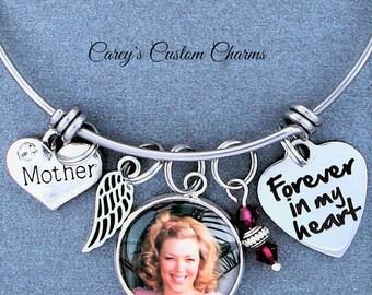 Mother Memorial Keepsake Photo Charm Bracelet, Swarovski Birthstone, Sympathy Gift, Forever In My Heart, Angel Wing, Custom Picture Charm