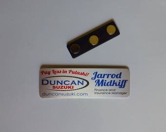 "1"" X 3"" Employee name tag brushed Silver or Gold Magnetic fastener"