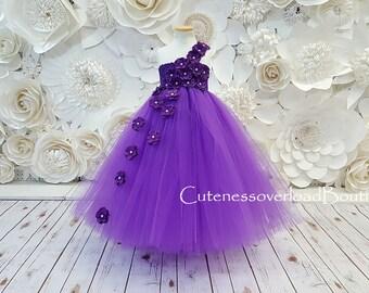 Purple Dress Fancy Tutu Flower Girl Girls