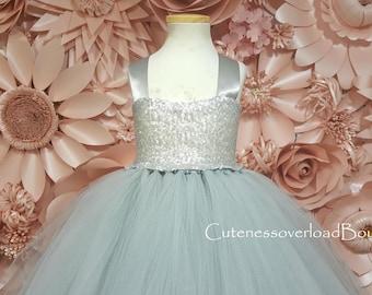 Silver Bride Dress-Girl Dress-Silver Wedding Tutu-Silver Flower Girl Dress-Silver Tutu-Silver Birthday Dress-Silver Girl Dress-Silver