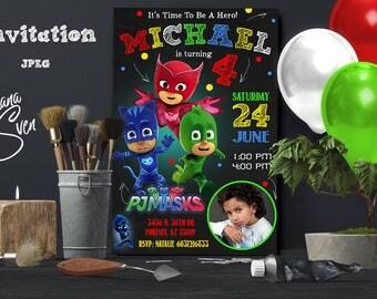 PJ Masks Invitations with photo - PJ Masks Birthday Party Invitation - Digital File - Printable - Amaya/Owlette - Connor/Catboy - Greg/Gekko