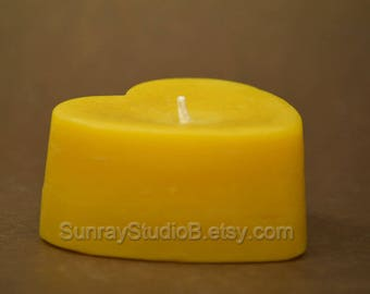 Beeswax Heart Candle, 100% natural beeswax candle, cotton wick candle, eco friendly candle, non toxic candle, non allergenic candle