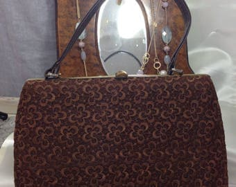 1950s Evening Handbag by Bective.  Embroidered overlay Mink Brown.