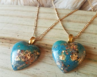 Turquoise & Gold Heart Necklace