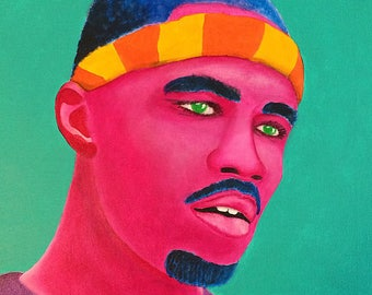"Original Painting ""Frank Ocean"" Acrylic on Canvas 16"" x 20"" ODD FUTURE"