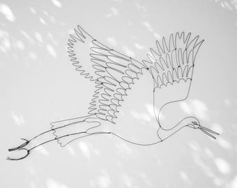 Wading / / wall decor / / bird / / poetic gift / / wire / / illustration