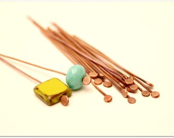 20 flat head pins, posts earrings, pins, Metal wire, findings, jewelry findings made made, copper head pins