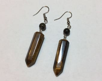 """Tiger eye stone and its grey tourmaline"" earrings"