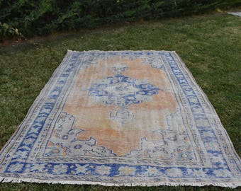 Free Shipping Oushak Rug Vintage Anatolia Wool Rug 6.5 x 9.2 feet Turkish Rug Home Decor Large Rug Area Rug Aztec Rug Floor Rug DC894