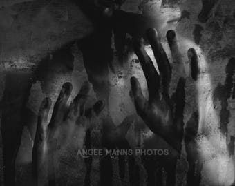 Dark Art Photograph, Fine Art Photo, Black and White, Mysterious, Hands