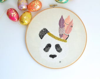 Embroidery Hoop Wall Art - Pascal with a Feather crown - New Home Gifts - New Baby Gifts - Nursery Decor - Kids room Decor - Home Decor