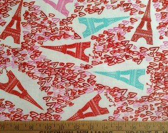 3/4 yard of Flannel/Eiffel Towers and hearts on off-white background cotton fabric