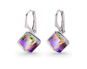 Swarovski Crystal Earrings, Cube Earrings, Lever-back, Handmade Gift, Sterling Silver Earrings, Genuine Swarovski Crystals
