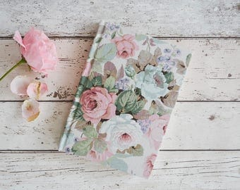 Vintage floral fabric covered notebook A5, Sanderson Chelsea Rose fabric covered A5 notebook, floral journal A5, rose design A5 sketchbook