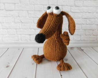 Stuffed dog Knitted dachshund Plush dog Knitted dog Pocket toy Dog amigurumi Toy puppy dog Present gift idea Dog lover gift Dog figurine
