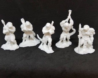 5pc Lizard Soldiers - Paintable 5 piece Figurine Set (28mm Scale)