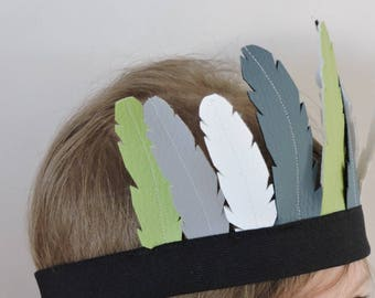 Indian headband faux leather feathers