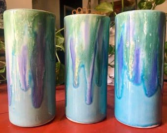 Vintage Ceramic Drip Ware Tumblers, Blue , Green + Purple Handmade Pottery, Signed by Artist, Dryden