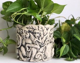 Monkey Planter, Ceramic Animal Plant Pot