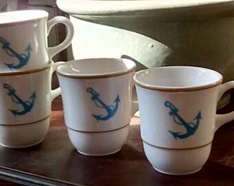 Vintage Syracuse China USA Navy Anchor Coff e Cups set of 4
