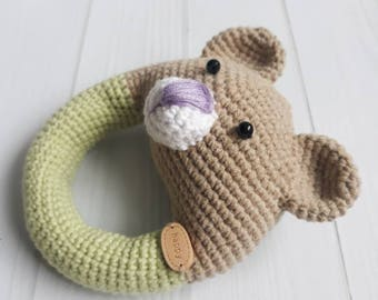 Crochet toy Bear Crochet animal Rattles Crochet bear Stuffed animal Bear toy Rattle Baby rattle Baby shower gift Rattle toy Newborn toy Toys