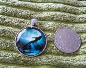 Mermaid and moon pendant