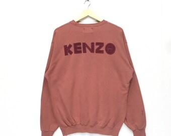 rare!! vintage kenzo jeanz big logo embroidered sweatshirt crew neck pullover