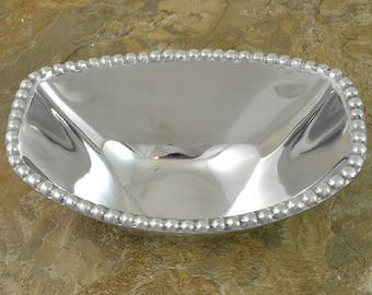 Rectangular Oval Beaded Bowl