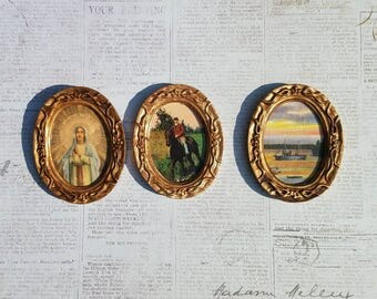 Miniature dollhouse pictures made from vintage postcards, 1:12 scale.