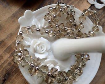 Vintage Necklace, Crystal Necklace, Quartz Necklace, Beaded Necklace, 1950s, Vintage Jewelry, Necklace, Gifts for Her, Wedding Gift