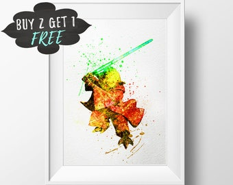 Master Yoda Art Print Poster, Star Wars Wall Art Poster Instant Download Nursery Decor Printable, Yoda Star Wars Print, Star Wars Art Poster