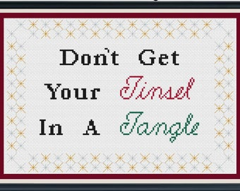Don't Get Your Tinsel in a Tangle/Holiday Cross Stitch/Christmas Cross Stitch/Modern Cross Stitch Pattern/PDF