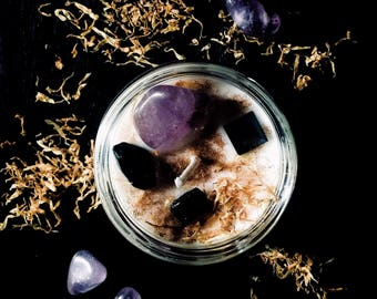 Witches Brew Candle With Black Tourmaline, Onyx, & Amethyst, Black Currant Tea Scented Soy Candle