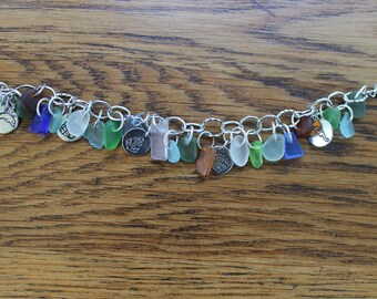 Loaded beach glass charm bracelet