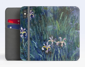"Claude Monet, ""Irises"". iPhone X Wallet case iPhone 8 Wallet case  iPhone 7 Plus Wallet case. Samsung Wallet cases."