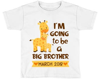 I'm going to be a big brother Shirt - Pregnancy Baby Announcement - Giraffe Big Brother - Promoted to big Brother - Big Brother to Be Boys