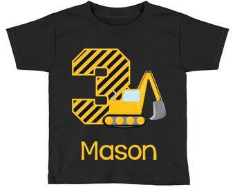 Construction Birthday Shirt - Excavator Birthday Shirt - 3rd Birthday Shirt - Third Birthday Shirt 3 - Boys Birthday