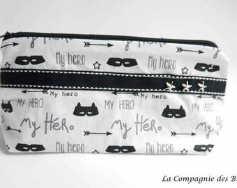 "black and white pattern cotton clutch ""hero"""