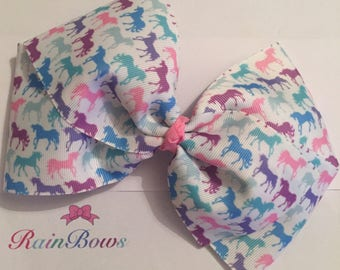 Large Multi Unicorn Boutique Bow