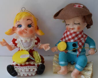 Boy and girl vintage ornaments