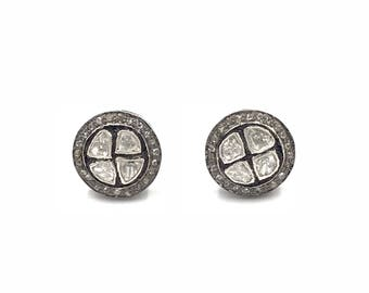 Rough cut and pave diamond earrings