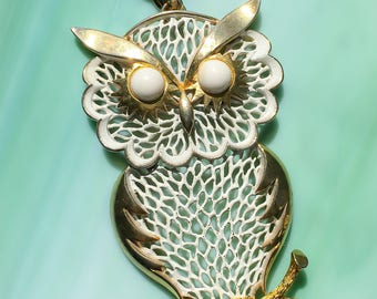 Enamel Owl Necklace | Owl Jewelry | Animal Jewelry | Pendant Necklace | Nature Jewelry | Bird Jewelry | Gift for Her | Vintage Jewelry