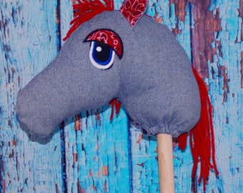 upcycled  Blue jean Denim Ride on Stick pony Hobby horse toy